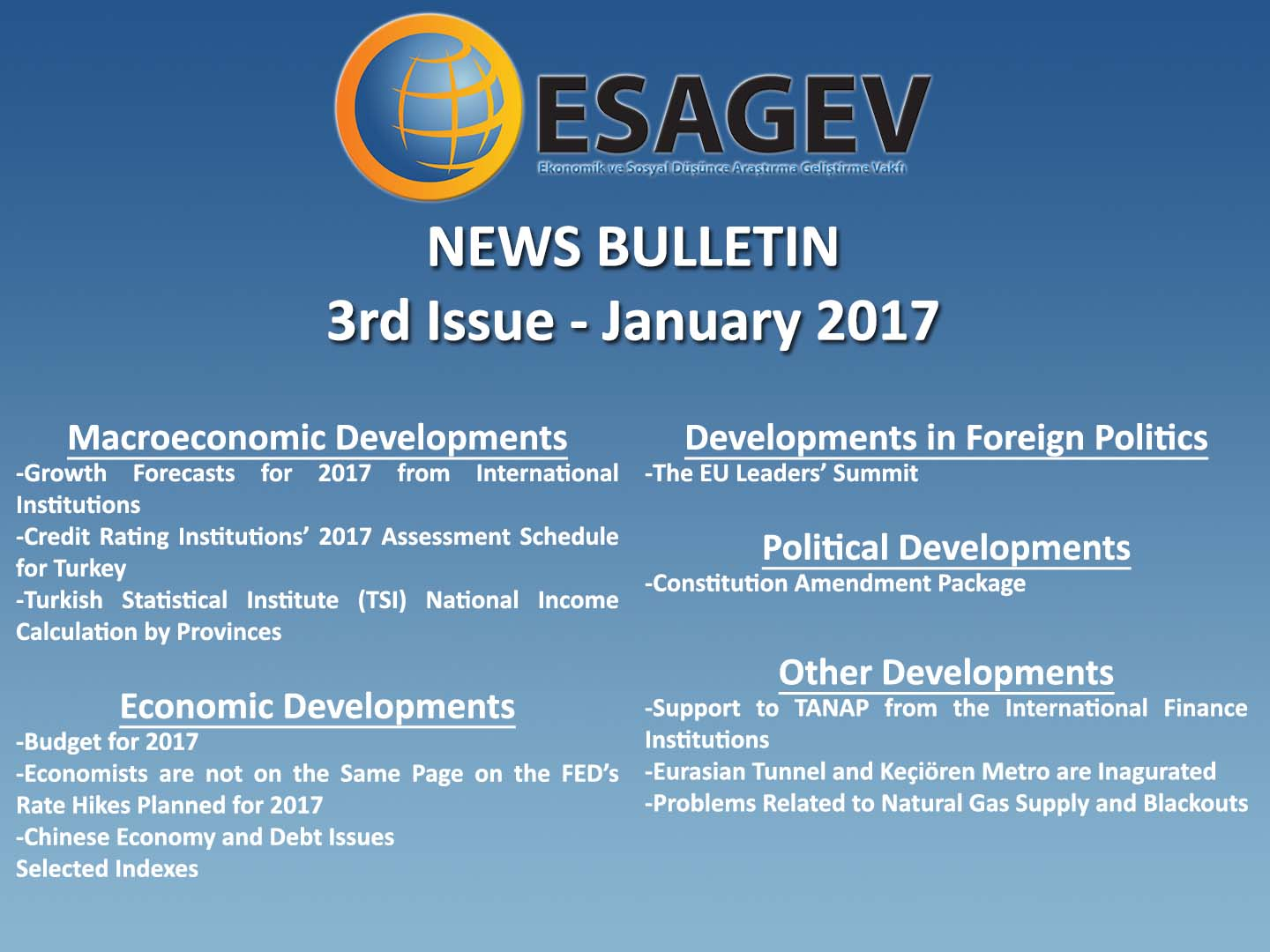 News Bulletin – 3rd Issue – January 2017